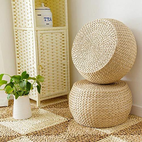 diuspeed coussin en paille tiss e pouf rond fait main. Black Bedroom Furniture Sets. Home Design Ideas