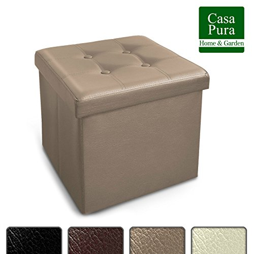 Casa Pura Tabouret Pouf Coffre De Rangement 3 En 1 Repose Pied Pouf Coffre Pliable Siege Rangement Coffre Rangement Simili Cuir Couleurs Au
