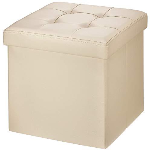 Brian Dany Pouf Coffre De Rangement Tabouret Pliant Banc Pouf De Pliable Cube Simili Cuir 38 X 38 X 38 Cm