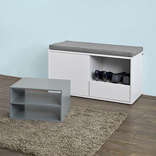 SoBuy® FSR37-W Banc de Rangement à Chaussures avec Coussin rembourré, tiroir et étagères ...